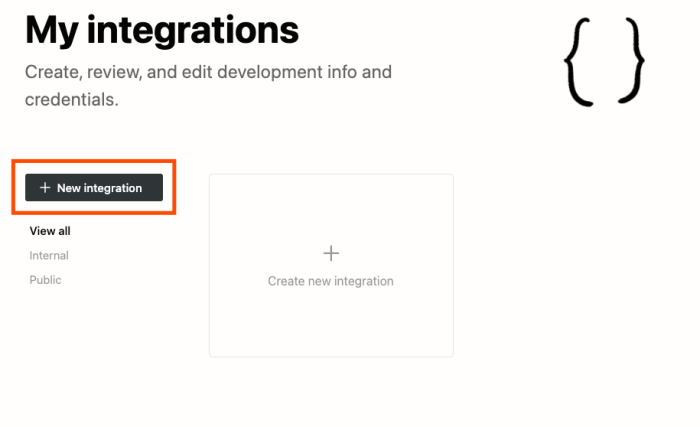 Notion's My integrations page. A red box highlights the + New integration button.