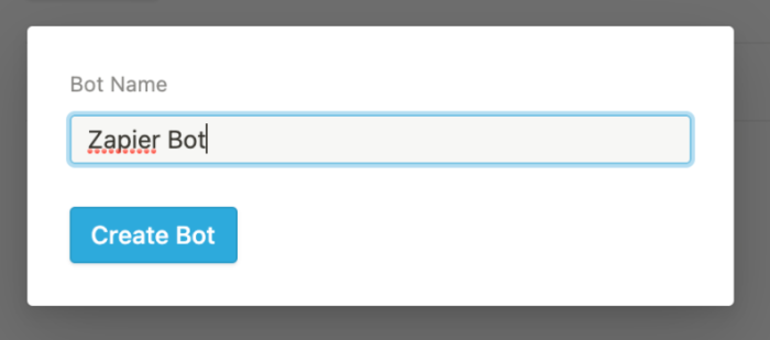 A pop-up window in Notion prompting the user to give a bot name.