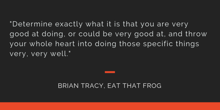 Eat That Frog principle 12: Determine exactly what it is that you are very good at doing, or could be very good at, and throw your whole heart into doing those specific things very, very well.