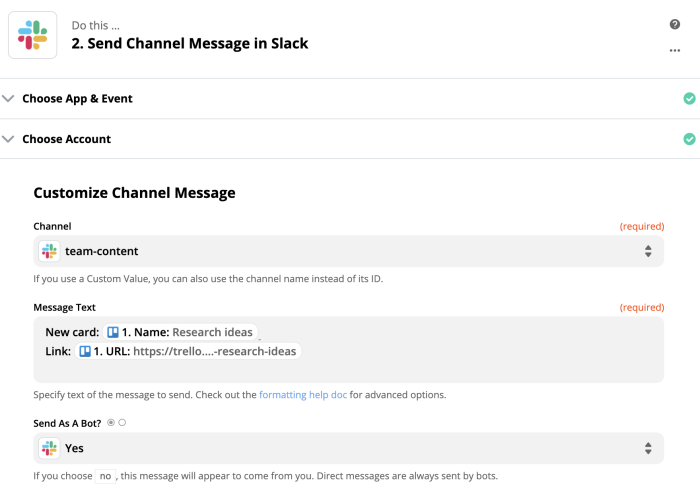 Trigger channel messages in Slack from any app through Zapier