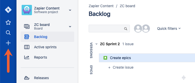 create an issue in Jira