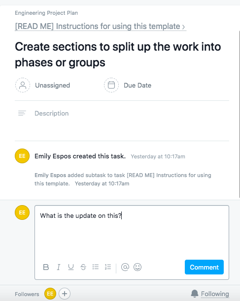 Leaving a comment on a task in Asana