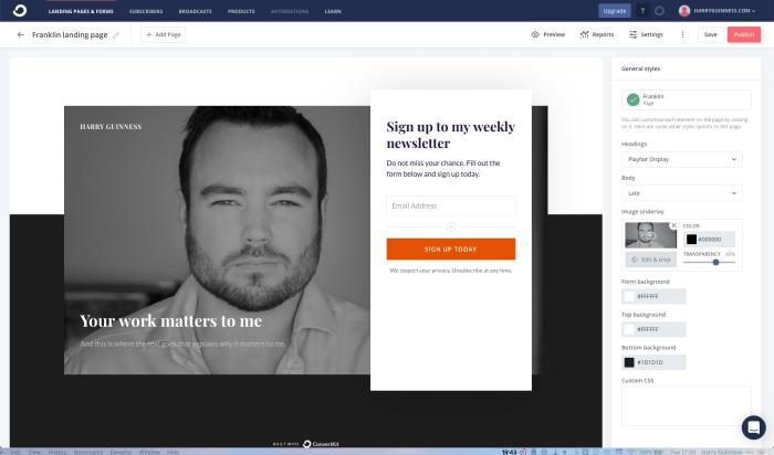 ConvertKit landing page builder screenshot