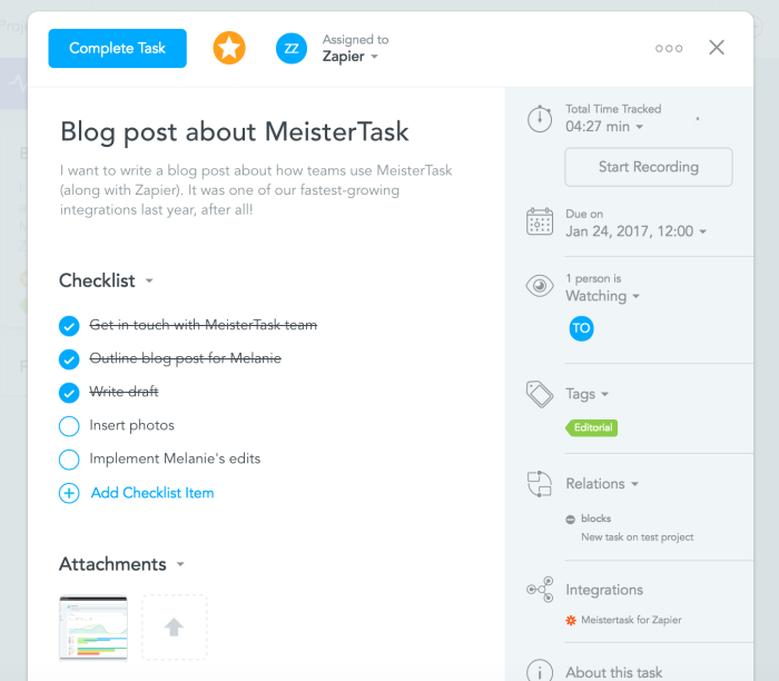 Example of a MeisterTask task