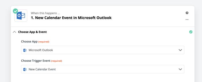 Outlook New Calendar Event trigger in Zapier