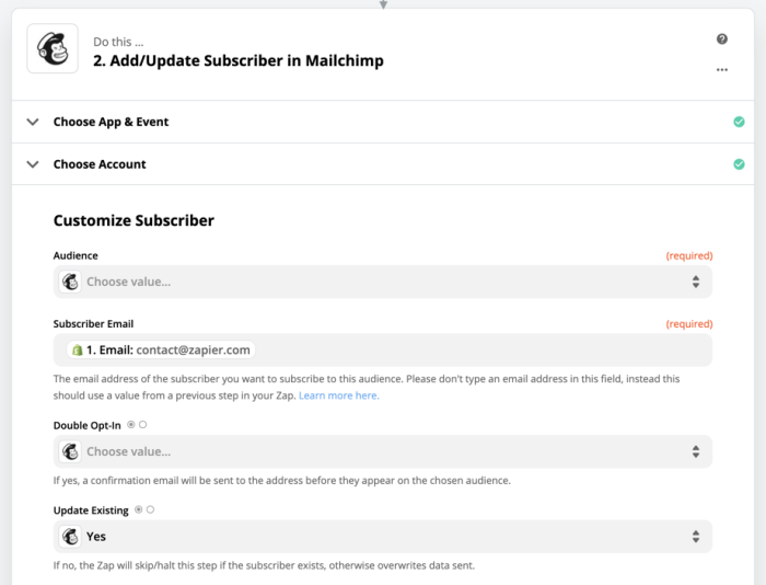 Mapping Mailchimp fields