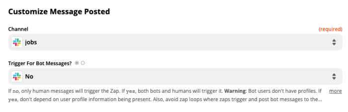 A screenshot of the Customize Slack Message Posted step in the Zap editor.