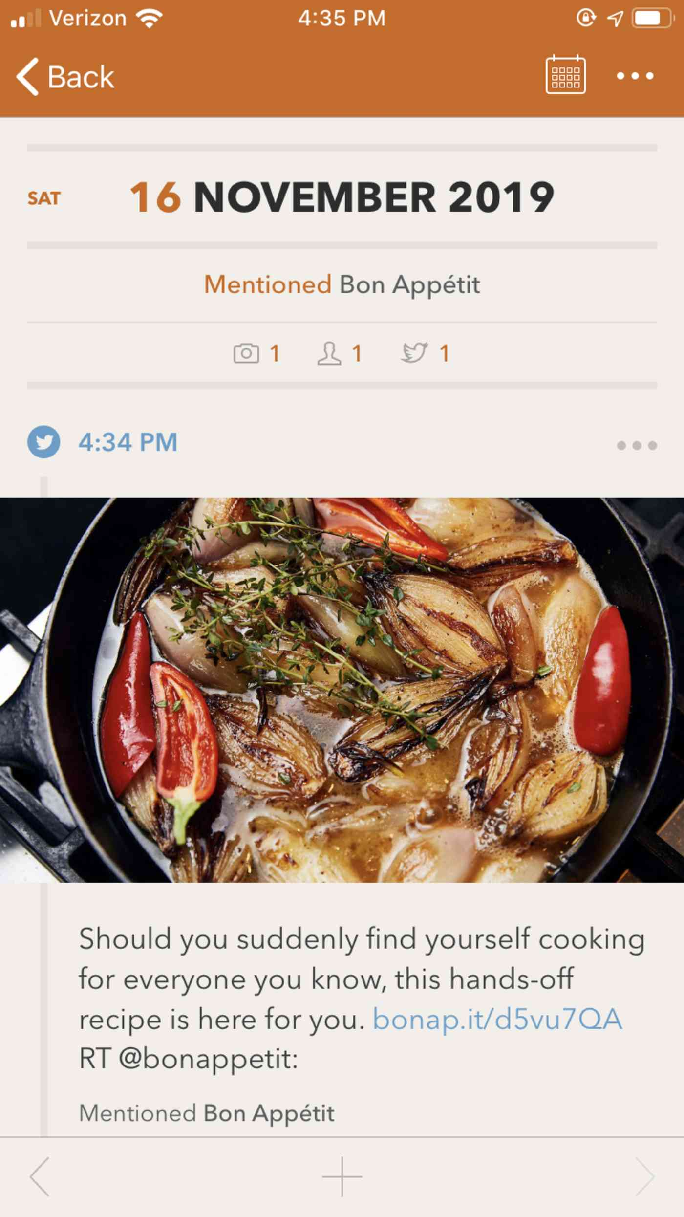 Momento journal entry showing a Twitter post with a Bon Appetit recipe