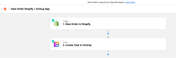 """Zap set-up for """"New Order Shopify + Clickup App"""""""