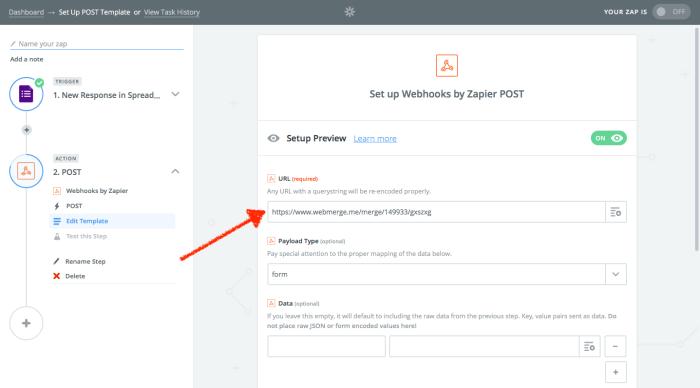Zapier send data to webhook URL