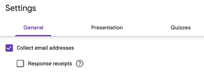 Settings in Google Sheets