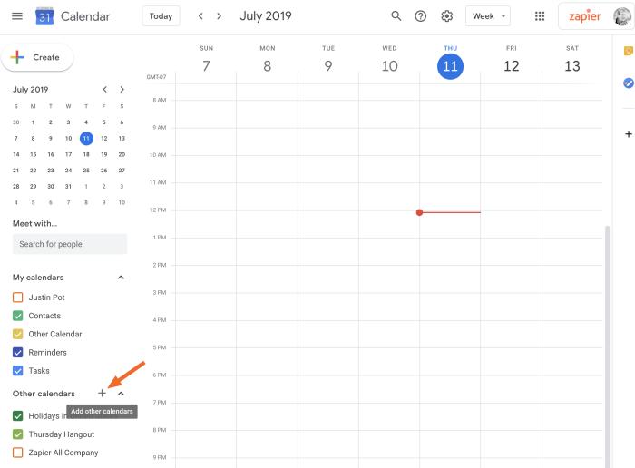 Other Calendars in Google Calendar