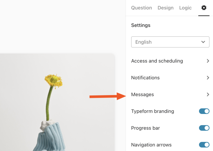 The Messages section in Typeform