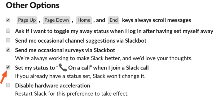 Other options menu in Slack preferences with set my status on a call checked