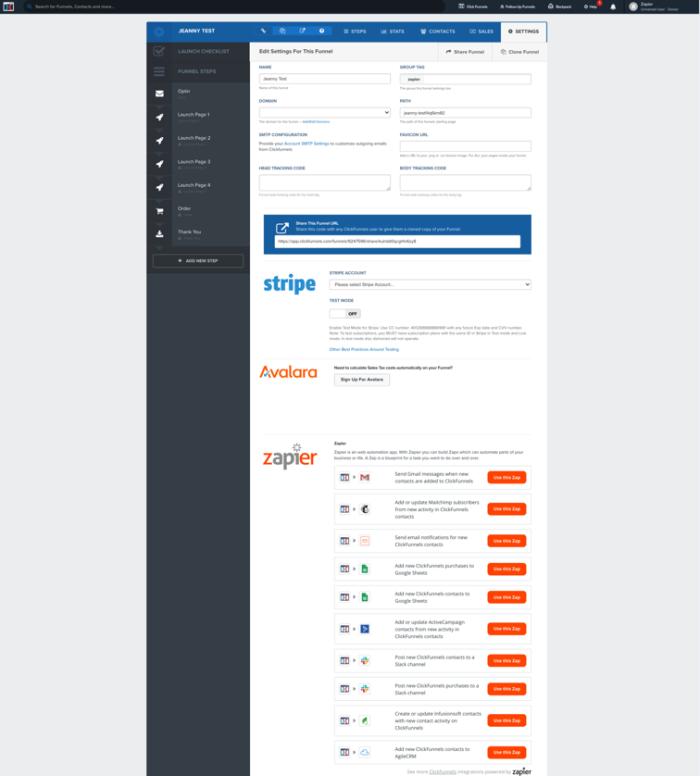 ClickFunnels using JavaScript widget to display Zapier inside product