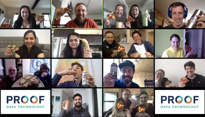 The Proof team on Zoom with their pizza