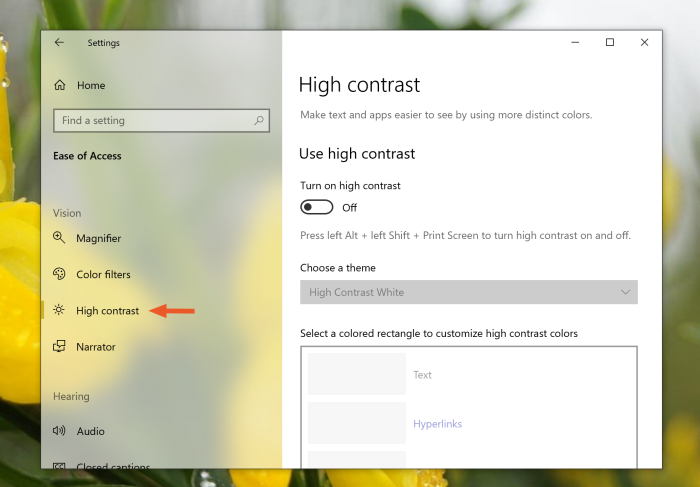 High contrast on Windows 10