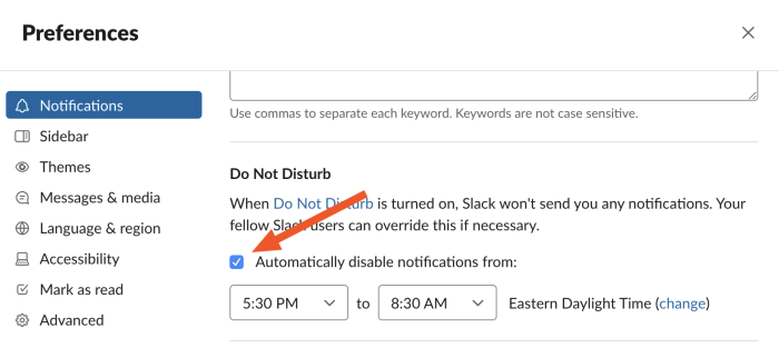Setting the Do Not Disturb hours on Slack