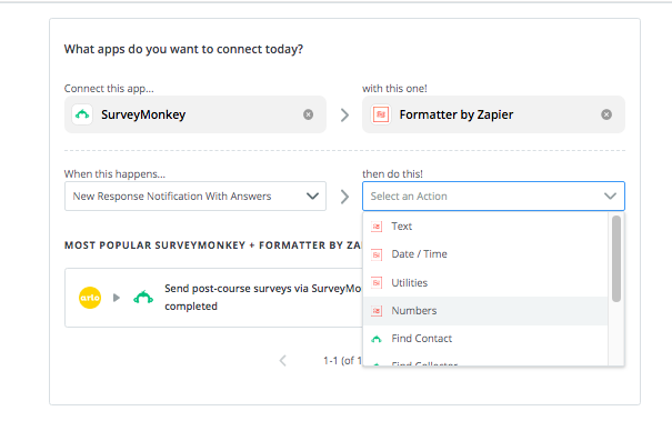 Selecting SurveyMonkey and Formatter by Zapier, and the trigger and action steps.