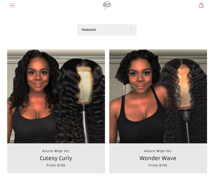 Wigs on the Allure Wigs website