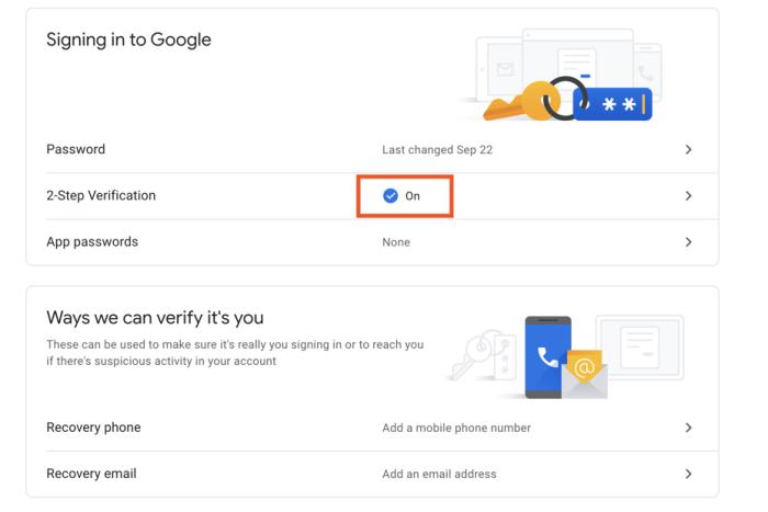 Set Gmail 2-factor settings