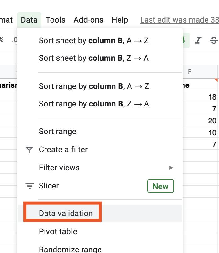 Selecting data validation in Google Sheets