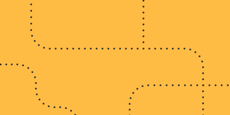 A yellow rectangle with dotted lines running through it.