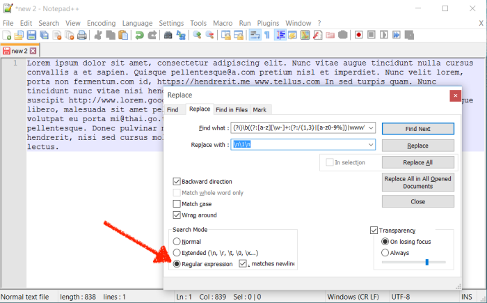 Use regex to find and replace text in Notepad++