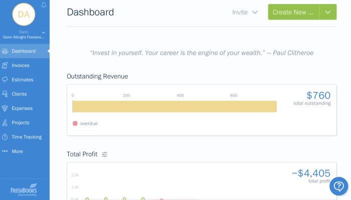 FreshBooks dashboard screenshot