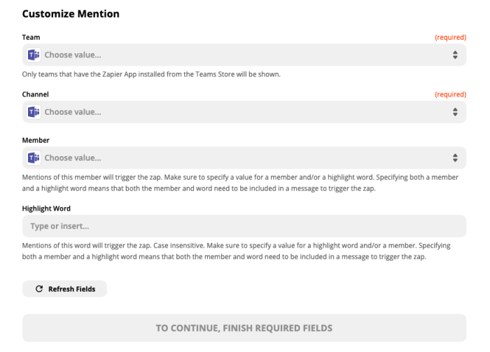 A screenshot of customizing the channel mention in the Zap Editor.