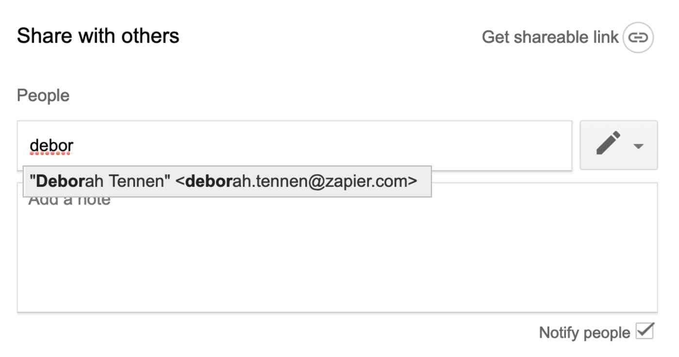 Google Docs email address