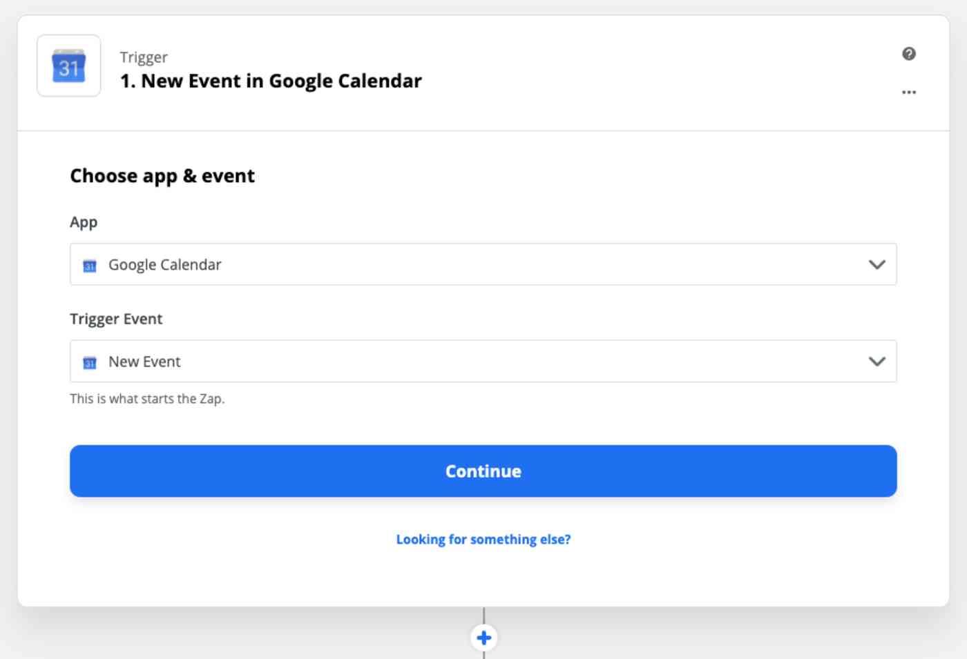 Zap Trigger set-up: New event in Google Calendar