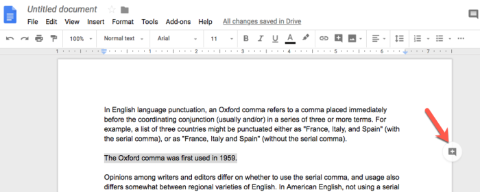 adding a comment in Google Docs