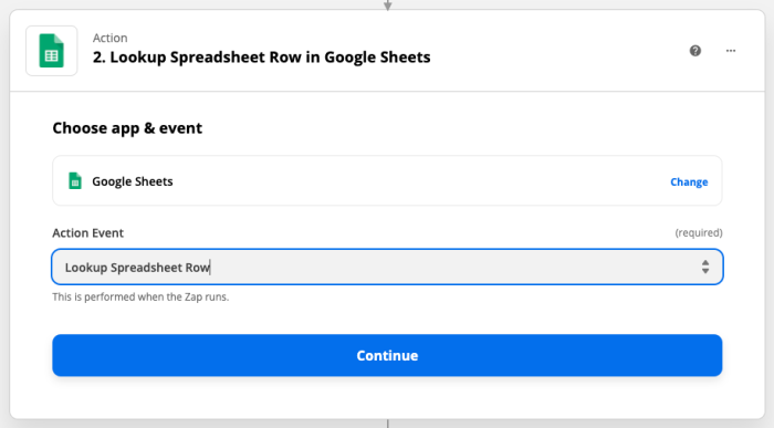 Action set-up: Lookup Spreadsheet Row in Google Sheets