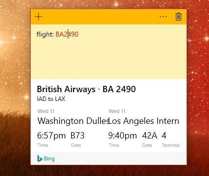 Microsoft Sticky Note screenshot