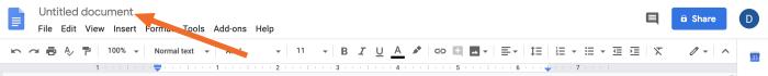 Agregar un título a un documento de Google