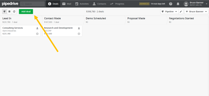 Add deal button in Pipedrive CRM