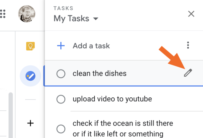 Adding a task in Google Calendar