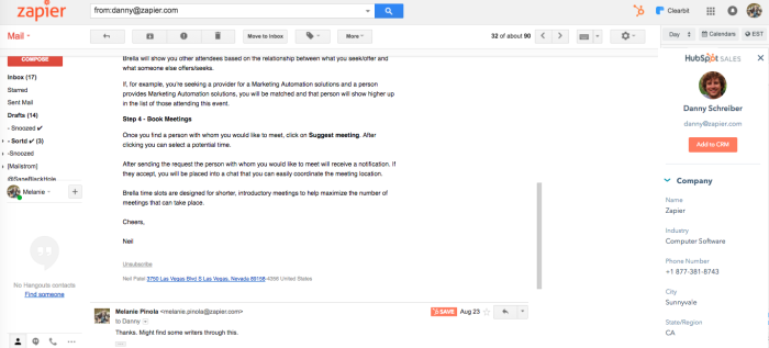 HubSpot email extension