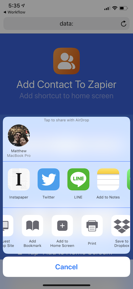 Add Shortcut to iOS Home Screen