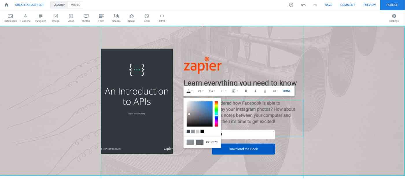Instapage screenshot