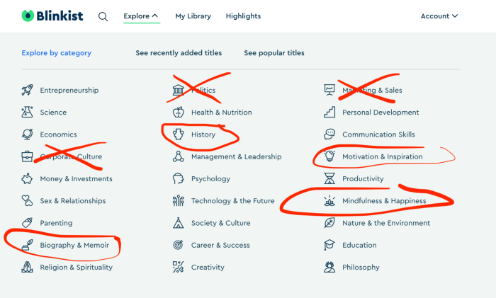 Blinkist categories, with history, biography & memoir, and mindfulness & happiness circled