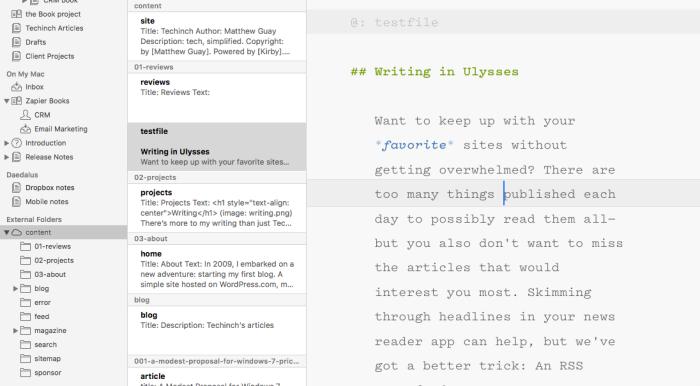 External Dropbox folders in Ulysses