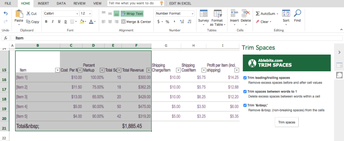 Ablebits Trim Spaces Add-in for Excel Online
