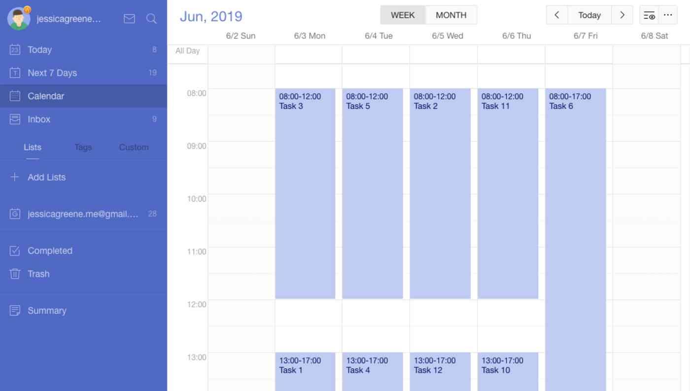 TickTick Premium calendar view