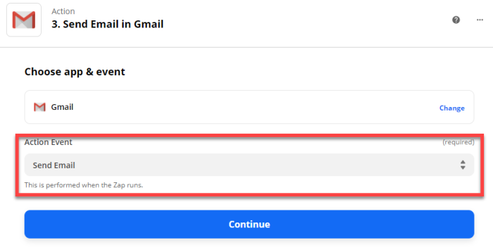 Action event: Send Email