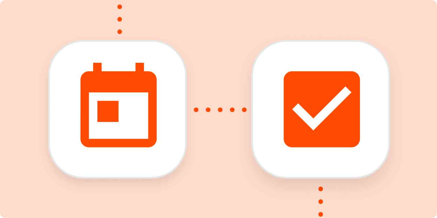Icons representing a calendar and a completed task in white squares on a light orange background.