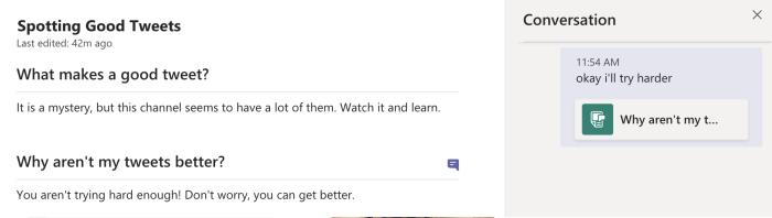 Comentarios en la Wiki de Microsoft Teams