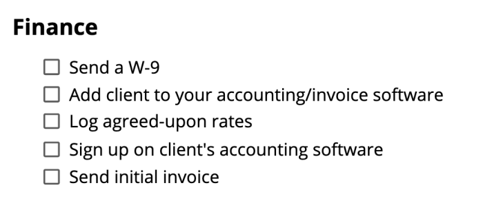 The finance steps from the checklist