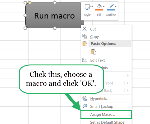 Attach macro to button in Excel
